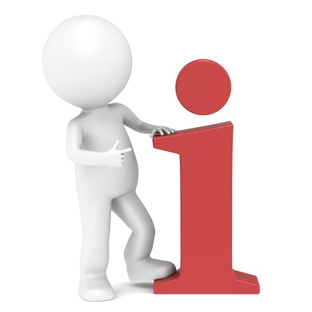 3D little human character pointing at an info icon. People series.