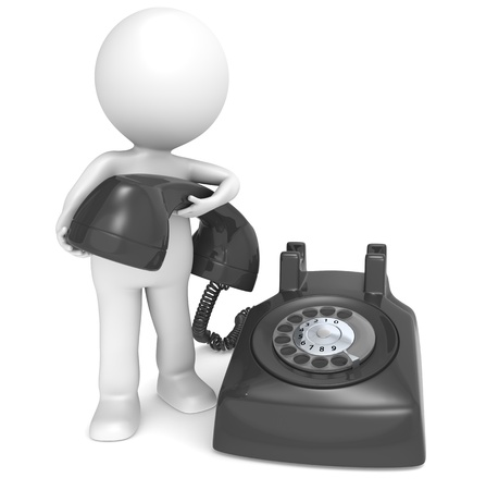 3D little human character with a Black Telephone. People series.