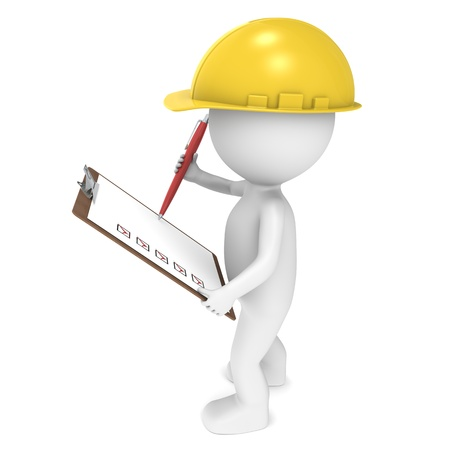 Foto de 3D little human character The Builder holding a Clip Board and a Pen. People series. - Imagen libre de derechos