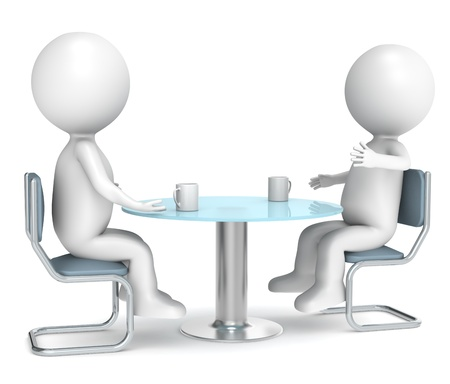 3D little human characters X2 discussing over a cup of coffee. Business People series.