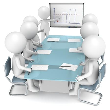 Foto de 3D little human characters X7 during a Presentation. Business People series. - Imagen libre de derechos