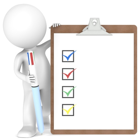3D little human character holding a Clipboard with Checklist and a MultiColor Pen.