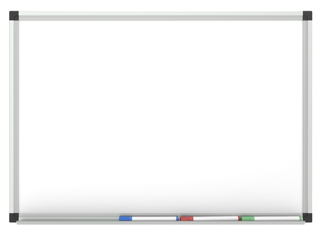 Blank Whiteboard with 3x marker pen, for copy space.  Isolated