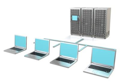 3 Server Racks and Laptops