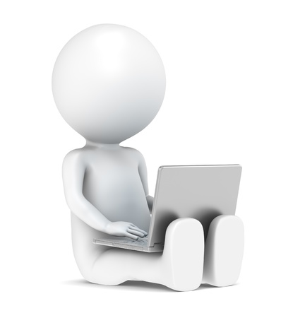 Photo for 3D little human character with a Laptop. Front view. People series. - Royalty Free Image