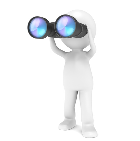 3D little human character with a pair of Binoculars. People series.