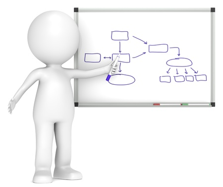 Photo pour 3D little human character with Whiteboard. Flow Chart.  Business People series. - image libre de droit