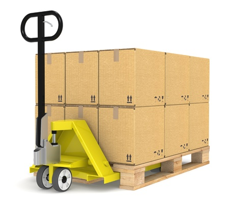 Pallet Truck/Jack and a Pallet With Cardboard Boxes. Part of Warehouse and logistics series.