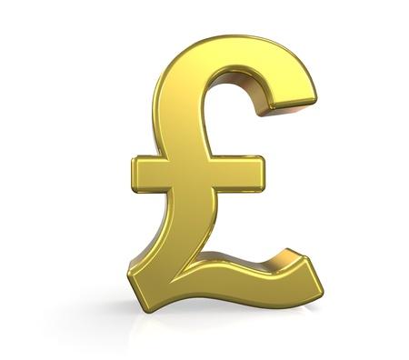 3D British Pound symbol. Gold. Ground reflection