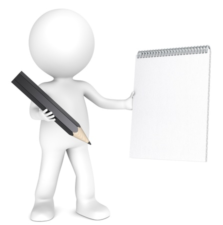 3D little human character holding a Blank notepad and a Black Pencil  Textured Paper  Copy Space  People series
