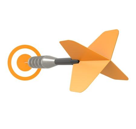 Business Success Concept Orange Dart Arrow, isolated on white