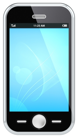 Black Smartphone, isolated on white  Blue Screen