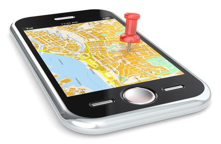 Black Smartphone with a GPS map  Red Pushpin