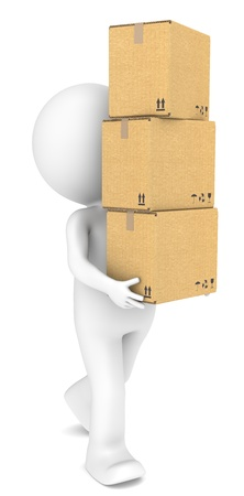 3D little human character carrying a pile of Cardboard Boxes  People series