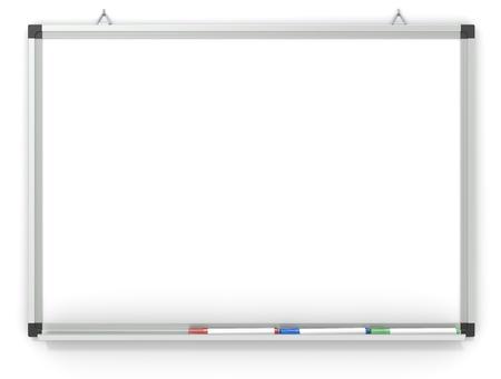 Blank Whiteboard mounted on wall.  3x marker pens. Copy space.