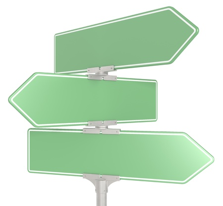 Blank directional road signs X 3. Green for Copy Space. Isolated.