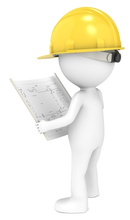 3D little human character The Builder looking at a blueprint  Back view  People series