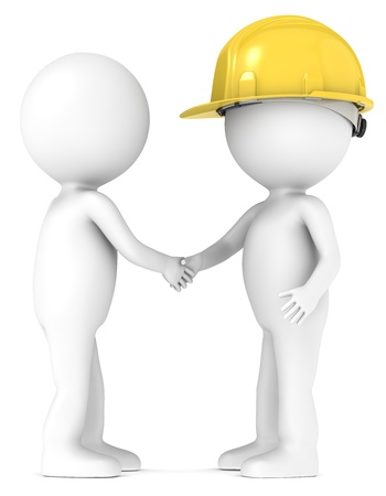 Photo for 3D little human character shaking hands with the Contractor  People series  - Royalty Free Image