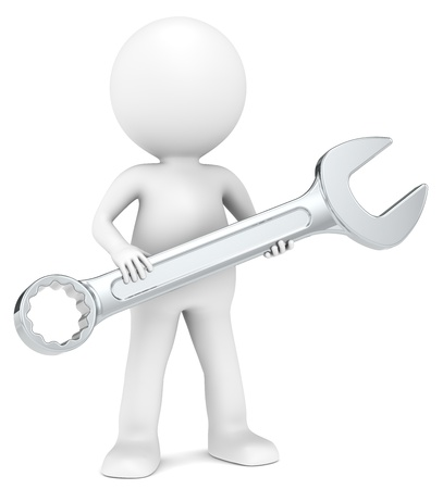 Photo pour The Mechanic  3D little human character with a wrench  People series  - image libre de droit