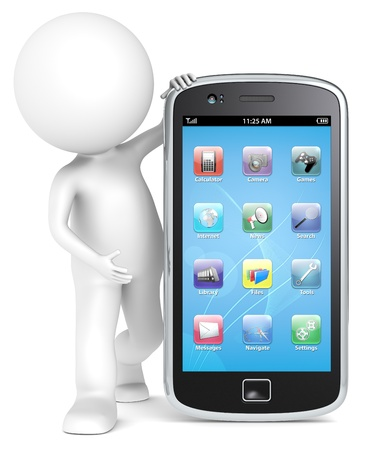 3D little human character holding a Smartphone with icons. People series.