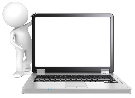 Presentation  3D little human character Showing a Blank Laptop Screen  Black and metal  Copy Space  People series