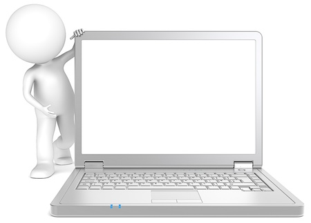 3D little human character Showing a Steel Laptop  Copy Space  People series