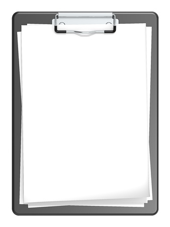 Isolated Clipboard with blank paper for Copy space  Black