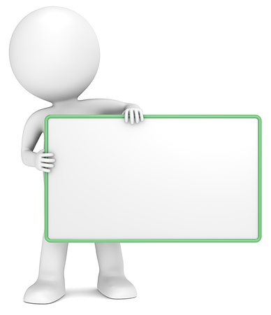 3D little human character The Messenger holding an empty Board. Green Frame. Copy Space. People series.