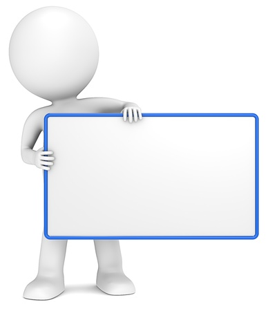 3D little human character The Messenger holding an empty Board. Blue Frame. Copy Space.