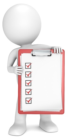 Check list  3D little human character holding a clipboard with check list  Red  People series