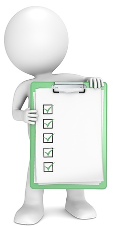 3D little human character holding a clipboard with check list  Green  People series