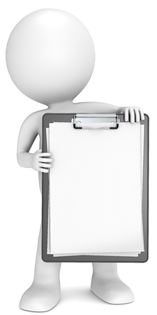 3D little human character holding a clipboard  Blank paper for copy space  People series