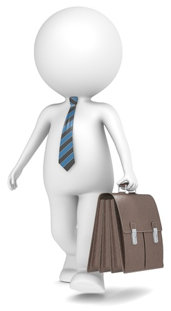 3D little human character the Business Man walking with Brown Leather Briefcase  Blue and Black striped tie People series