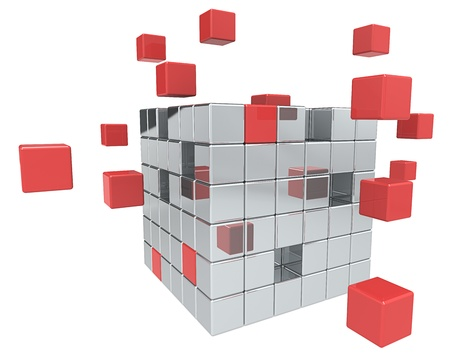Abstract cube assembly. Metal and Red.