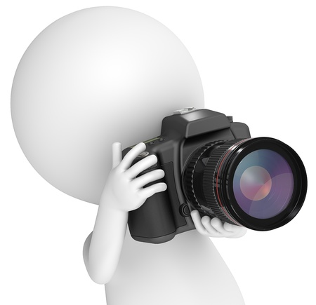3D little human character The Photographer with a SLR Camera. Close up. People series.