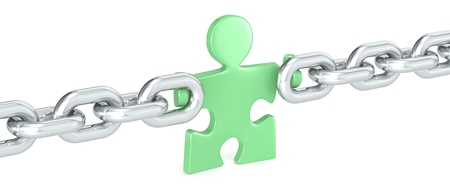 Green Solution. Puzzle people holding Chain Link. Green.