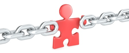 Missing Link. Puzzle people holding Chain Link. Red.
