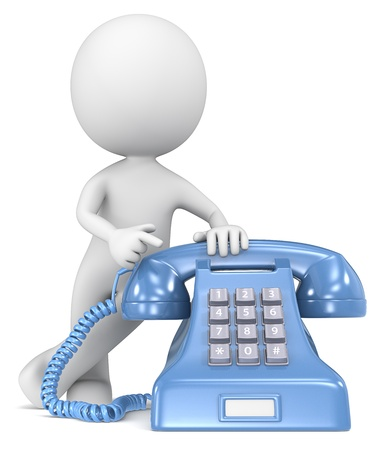 Photo pour Call  The Dude pointing at a classic telephone  Blue with white label  - image libre de droit