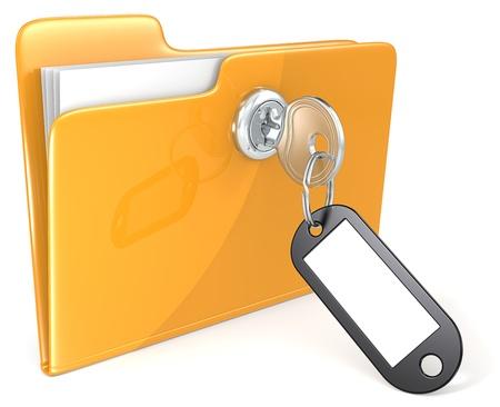 Photo pour Folder with Key, Keyring and Label  Copy Space   - image libre de droit