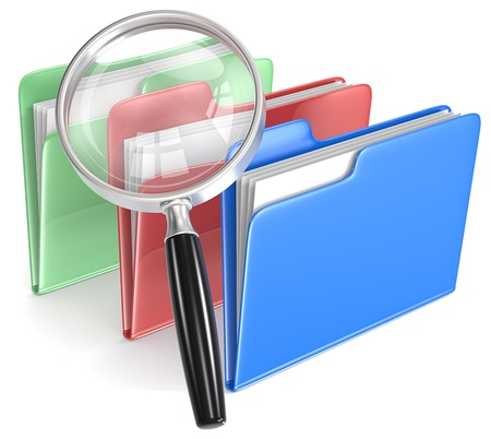 Search Magnifying Glass over 3 folders  Blue, red, and green