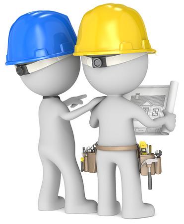 Foto de Planning  Dude the Builders x 2 looking at blueprint  Rear view  - Imagen libre de derechos
