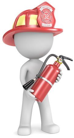 Photo for Firefighter  Dude the Firefighter holding fire extinguisher  Red helmet  - Royalty Free Image