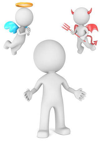 Good or bad choices  The Dude with Angel and Devil   3D little human character