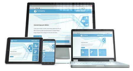 Responsive Web Design  Smartphone,laptop,screen and tablet computer RWD, No branded  Perspective view