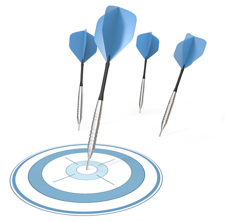 Accurate. 4 Dart arrows. One hitting target. Blue theme.