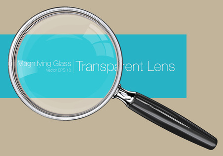 Magnifying glass.  Photo realistic Vector magnifying glass. Transparent Lens.