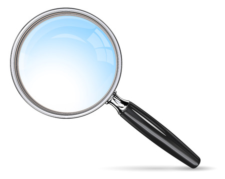 Classic Magnifying Glass. Vector magnifying glass. Blue lens effect.
