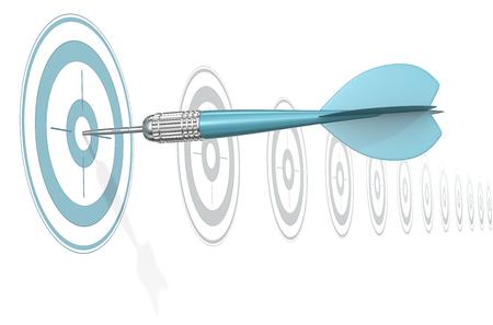 Target Marketing. Dart Arrow hitting center of blue target. Horizontal row of gray targets.