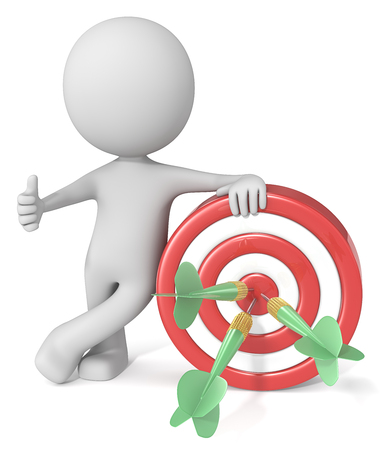 Photo for Hitting Target. Dude 3D character giving thumbs up holding dartboard. Red and white board with green dart arrows. - Royalty Free Image