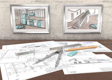 House project workplace. 2 Metal Picture Frames on concrete Wall with house sketches. Generic Architectural blueprints on table. Ruler, Pencil and Divider of metal. 3D render.